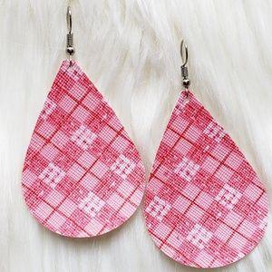 Jewelry - Pink Plaid Faux Leather Teardrop Earrings